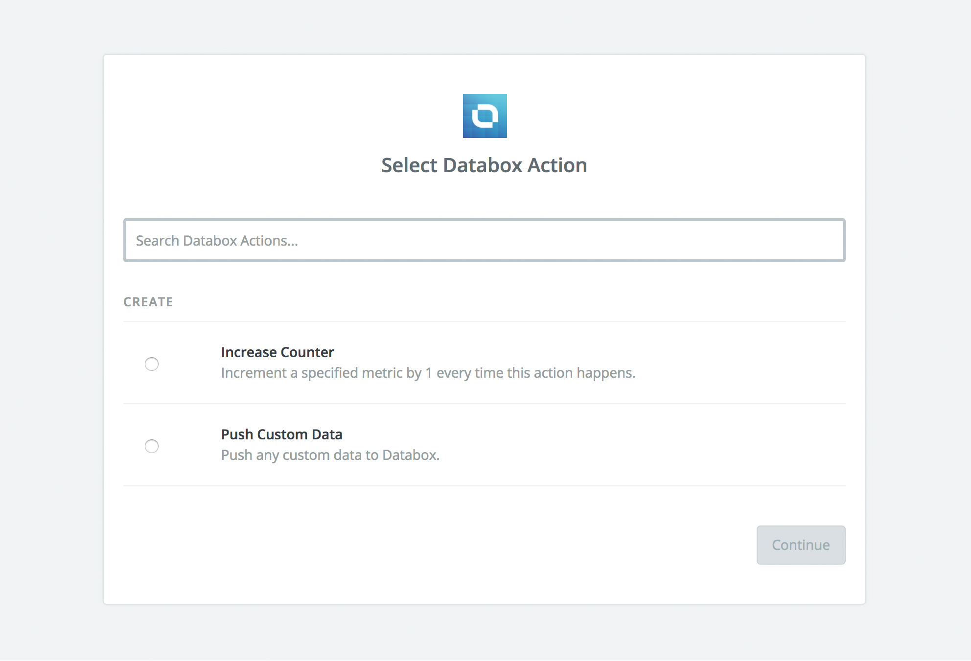 Zapier Select Action Option