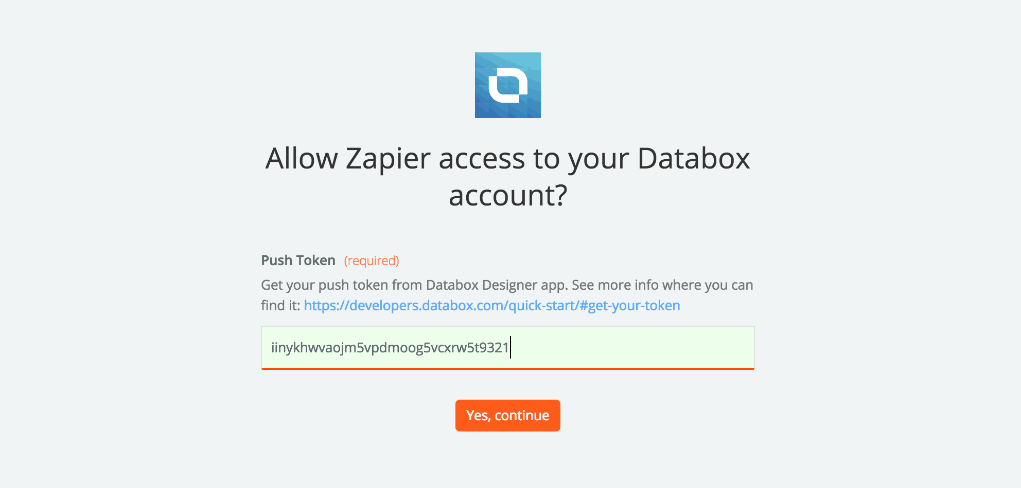 Zapier Enter Databox Token