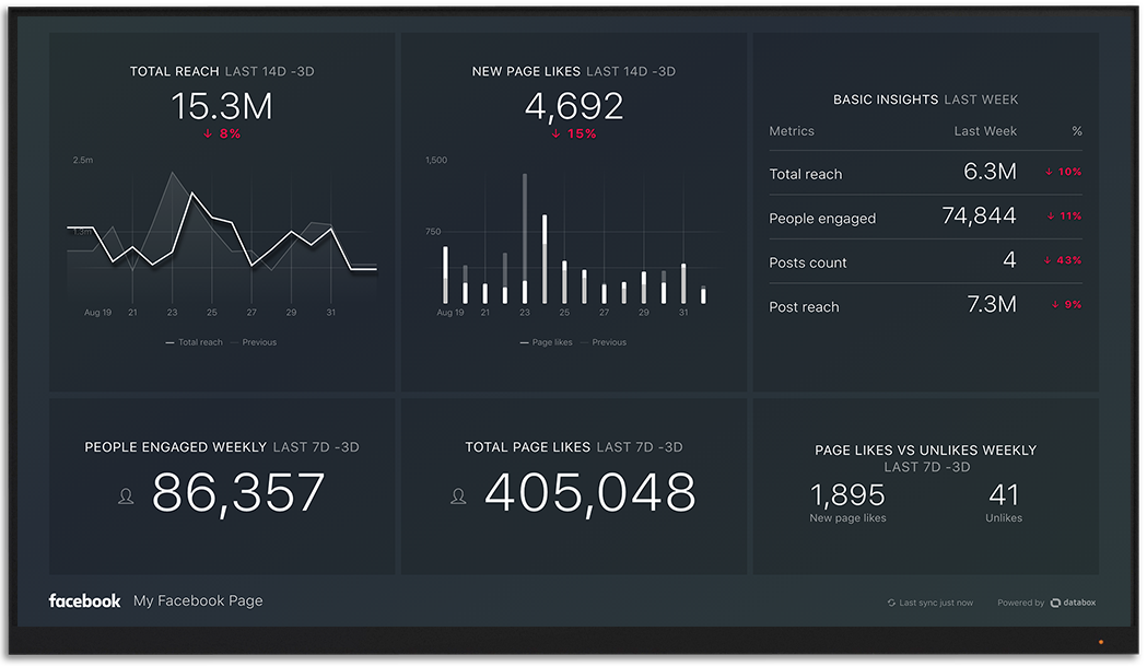 Facebook metrics and KPI visualization on Databox big screen dashboard