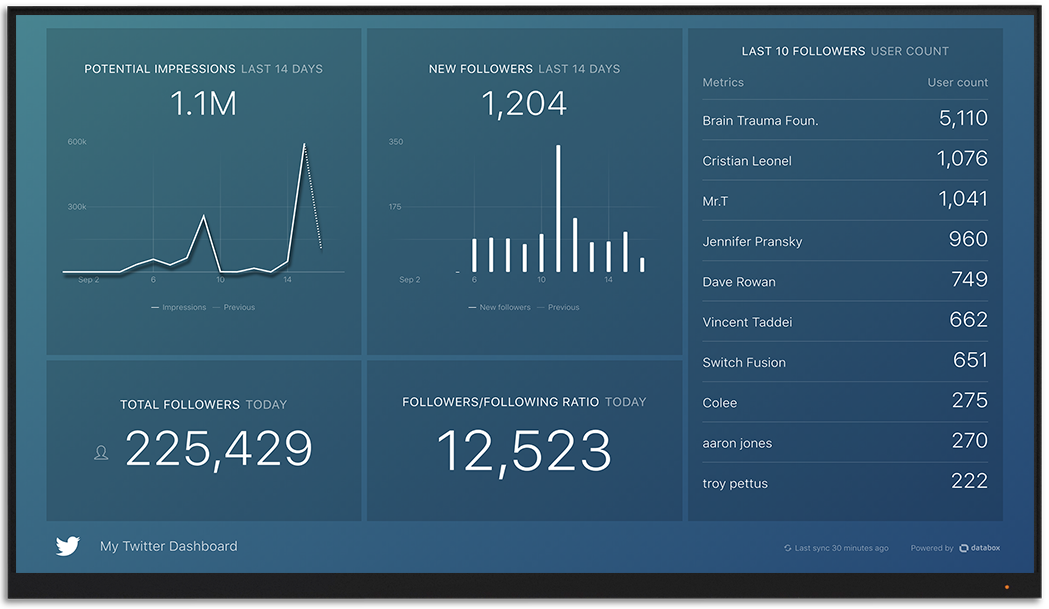 Twitter metrics and KPI visualization on Databox big screen dashboard