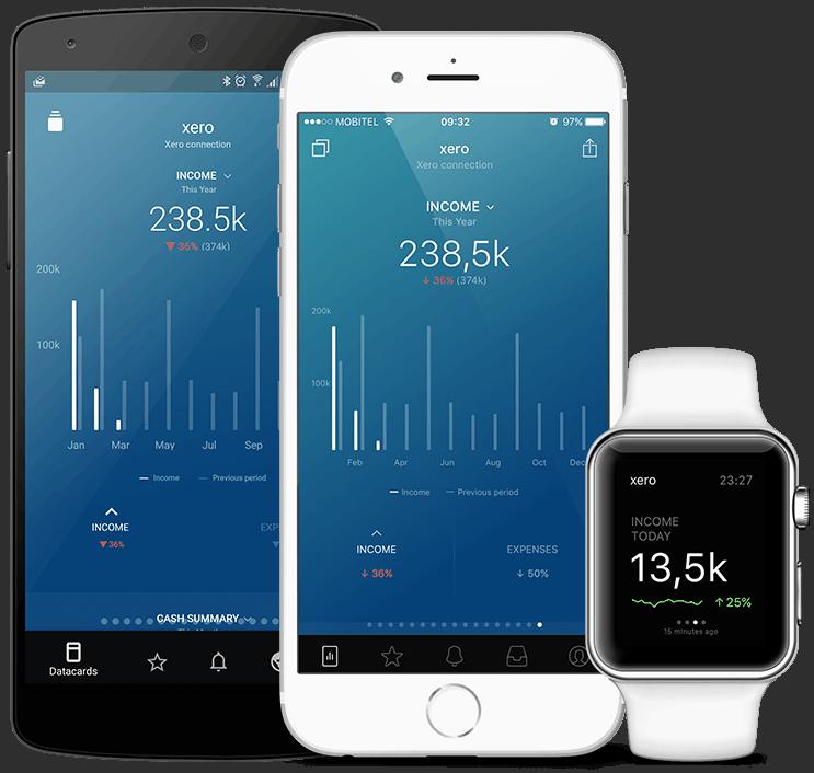 Xero metrics and KPI visualization in Databox native mobile app