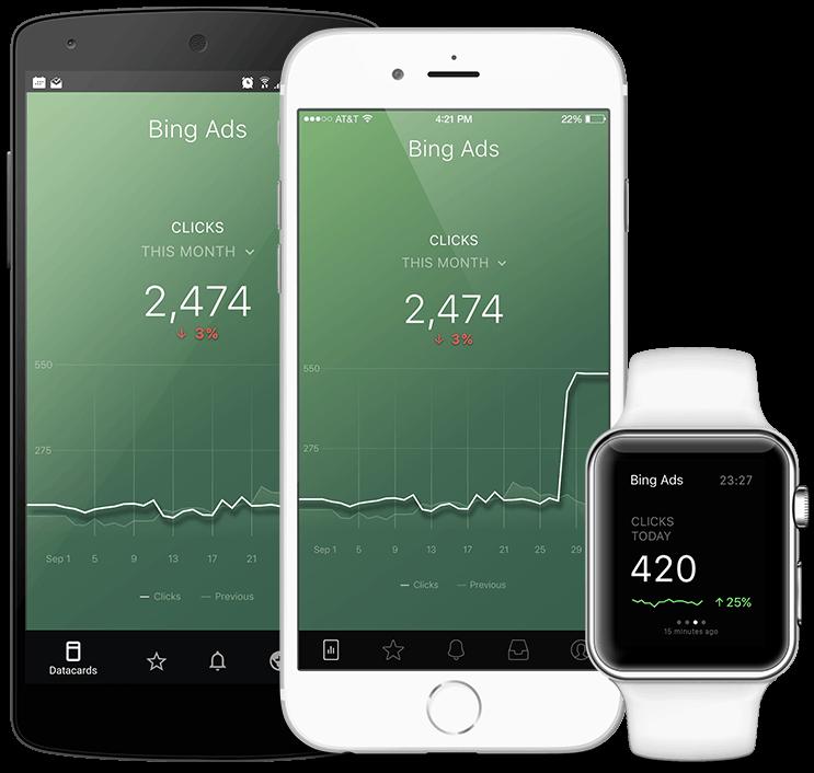 BingAds metrics and KPI visualization in Databox native mobile app