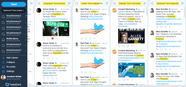 TweetDeck advanced content search by user