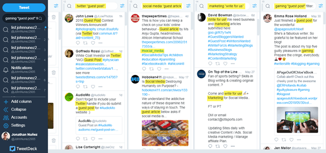 TweetDeck finding guest posting opportunities