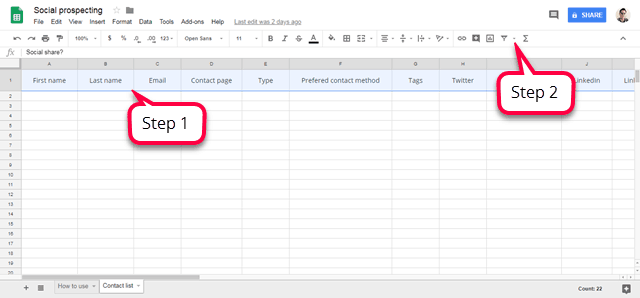 Social prespecting excel spreadsheet steps 1 and 2