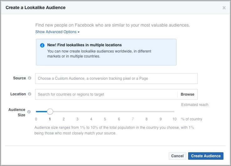 facebook lookalike audience options