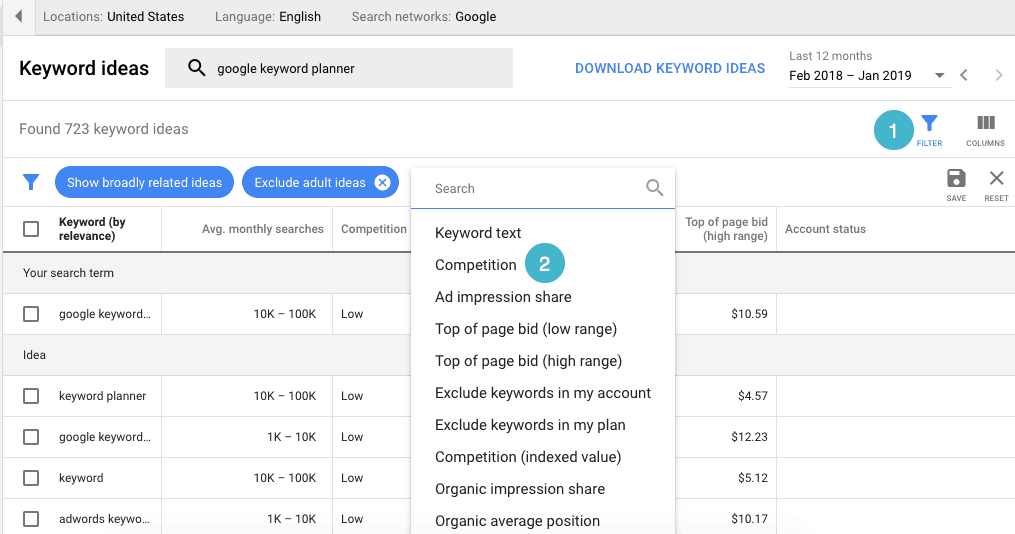 how to use google keyword planner to research \u0026 target the right Google Keyword Cloud filter to find keywords with low competition \u201c