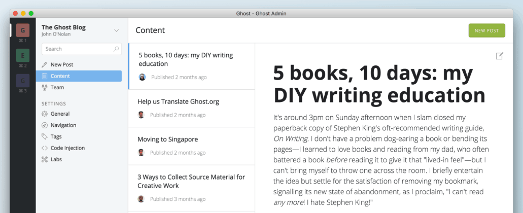 ghost cms for blogging
