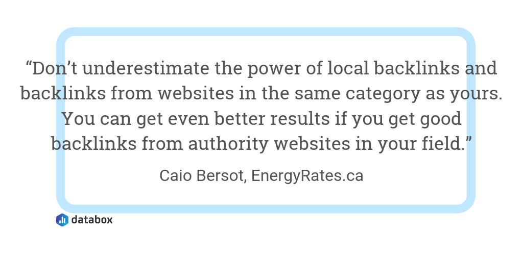 Backlink Relevance quote from EnergyRates.ca