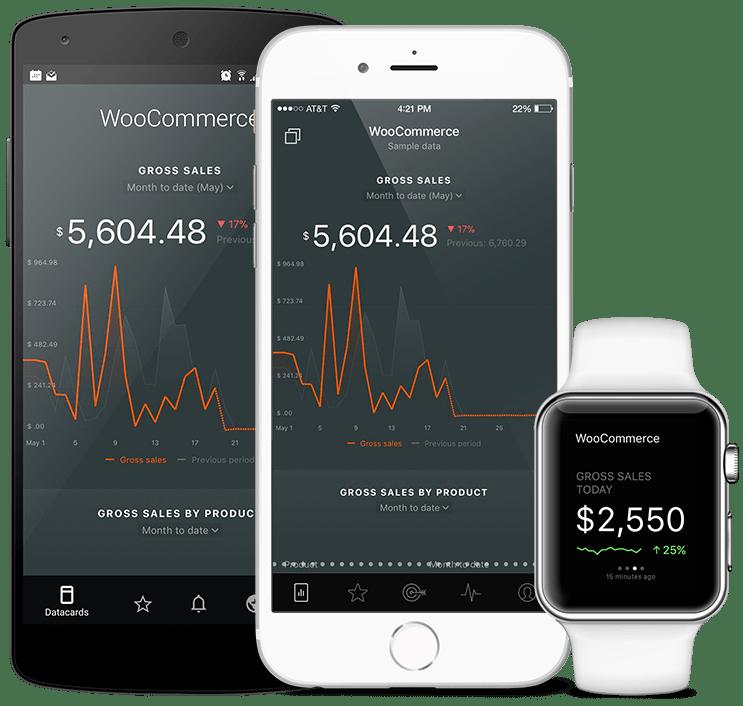 WooCommerce metrics and KPI visualization in Databox native mobile app