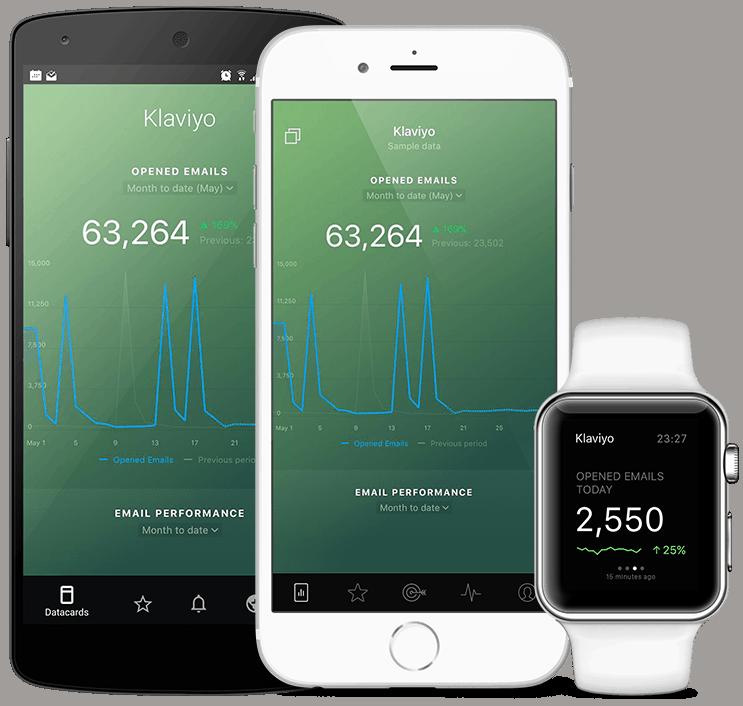 Klaviyo metrics and KPI visualization in Databox native mobile app