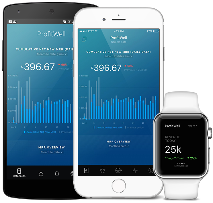ProfitWell metrics and KPI visualization in Databox native mobile app