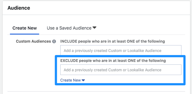exclude custom audience on facebook