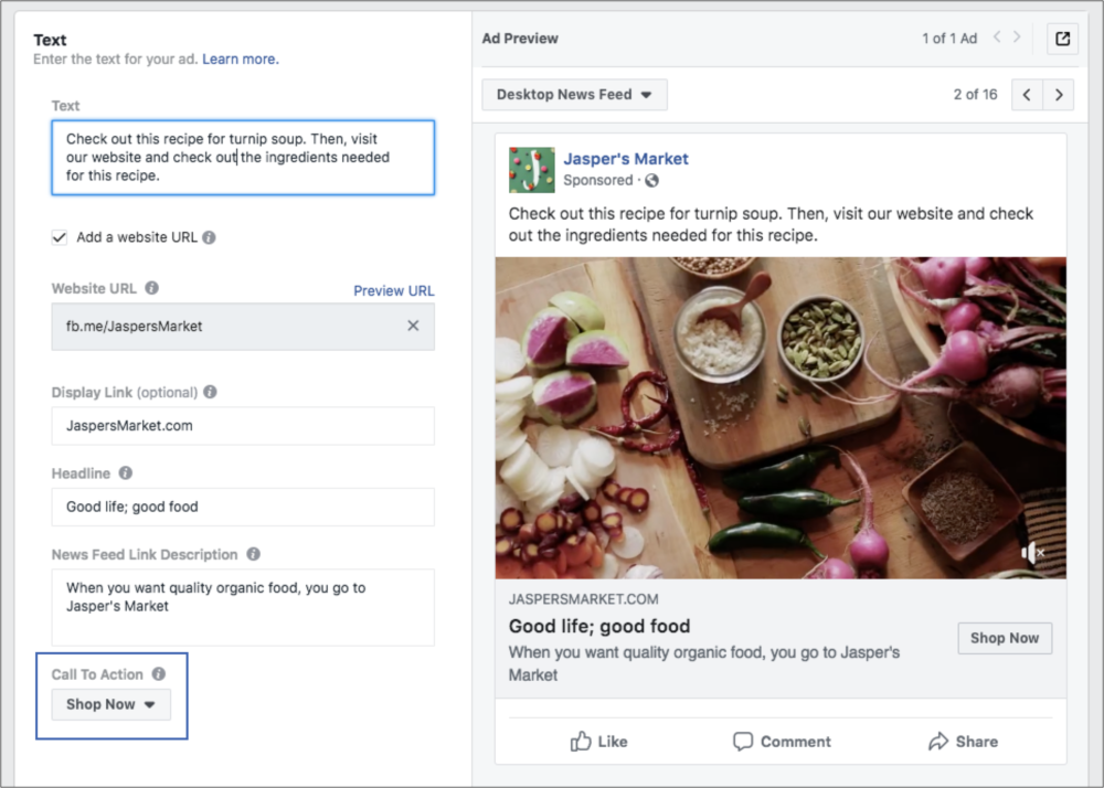 Facebook retargeting call to action example