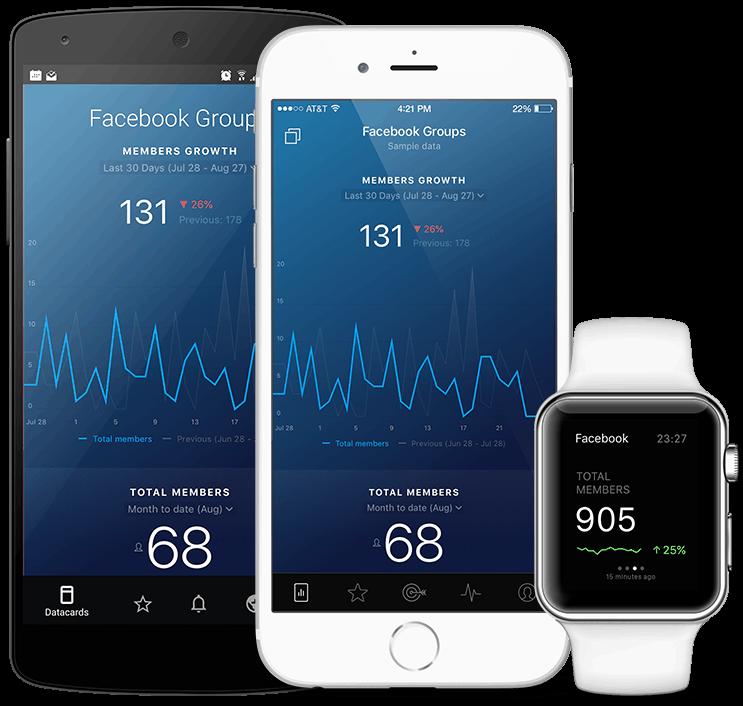 FacebookGroups metrics and KPI visualization in Databox native mobile app