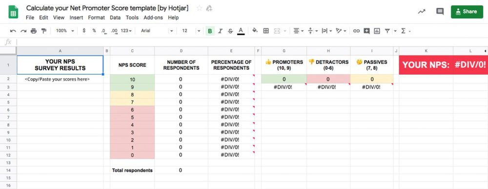 calculating Net Promoter Score (NPS) in excel