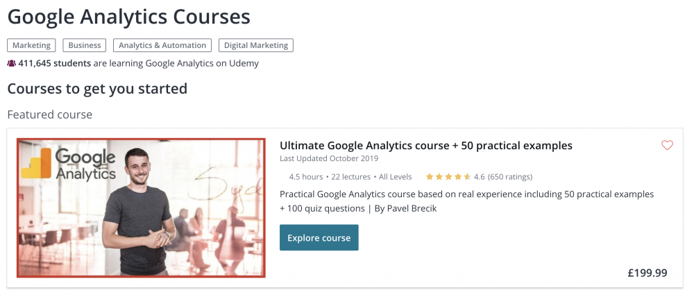 Google Analytics courses on Udemy