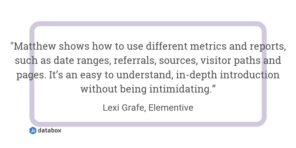 Matthew Edgar's Introduction to Google Analytics quote