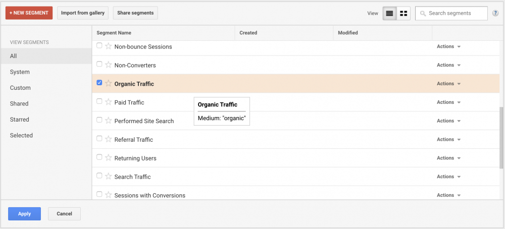 google analytics segments for organic traffic