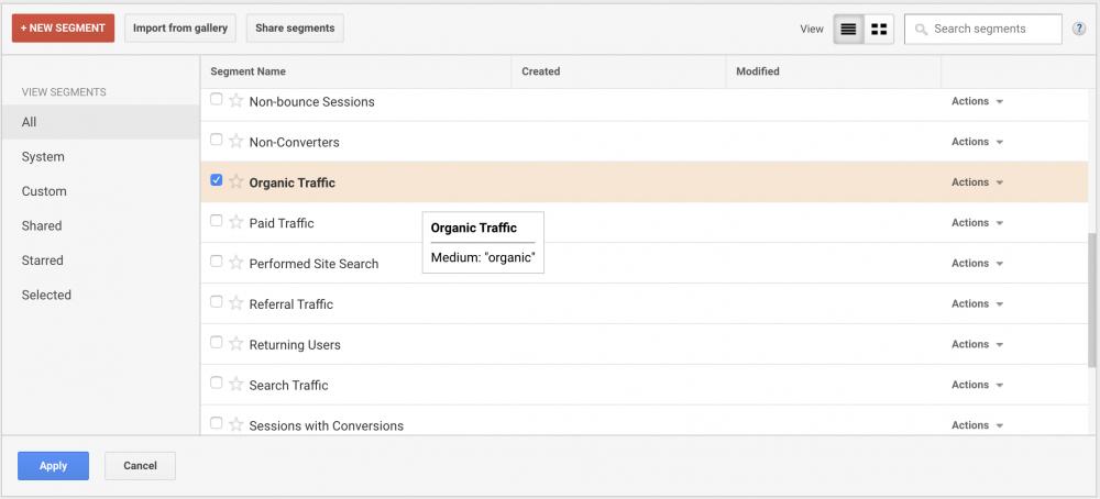 google analytics segments for organic traffic