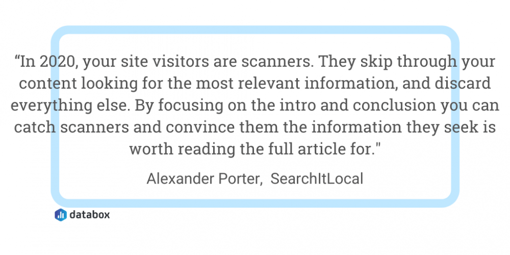 Rewrite your introduction quote from Alexander Porter, SearchltLocal