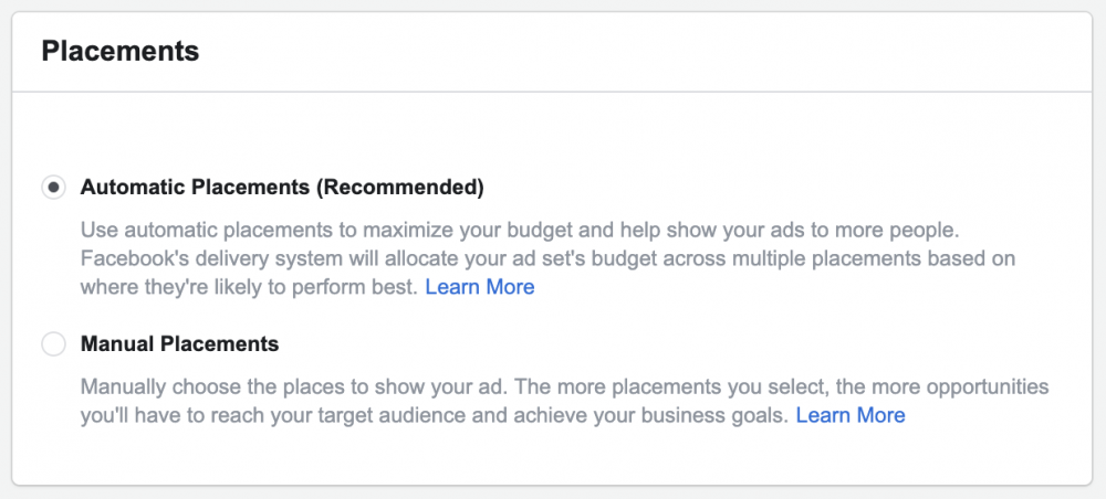 automatic placements for facebook ads