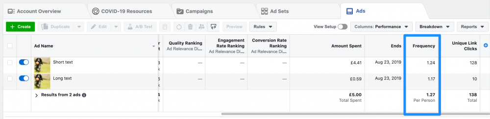 ad frequency facebook ads