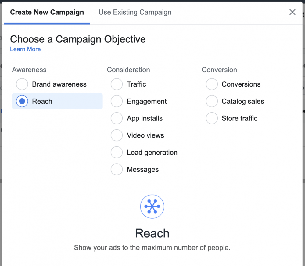 reach campaigns in facebook ads