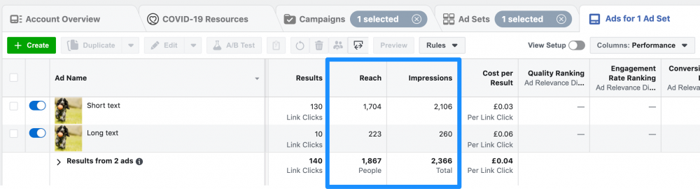 how to see reach and impressions in facebook ads manager