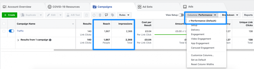 how to see reach and impressions in facebook ads