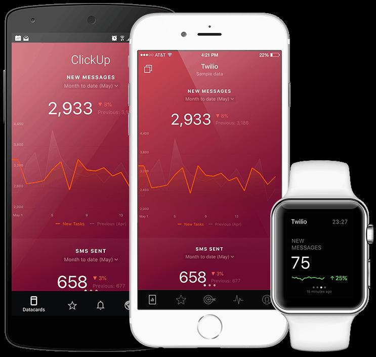 Twilio metrics and KPI visualization in Databox native mobile app