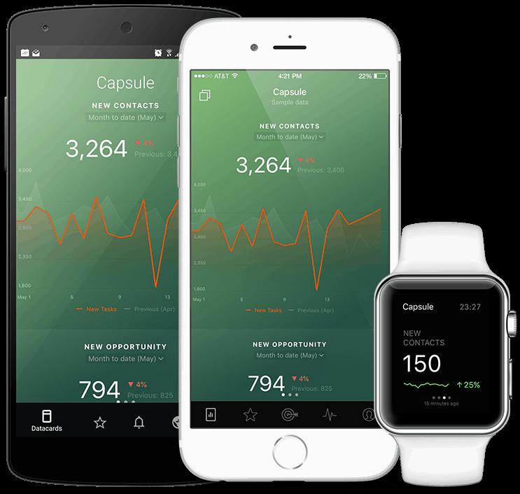 Capsule metrics and KPI visualization in Databox native mobile app