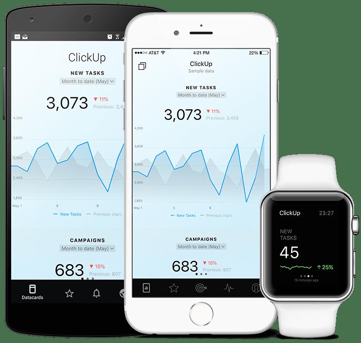 ClickUp metrics and KPI visualization in Databox native mobile app