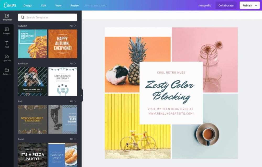 design tool for social media posts