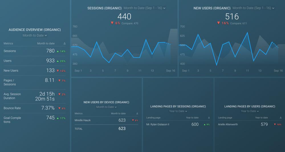 Google Analytics Organic Traffic Dashboard