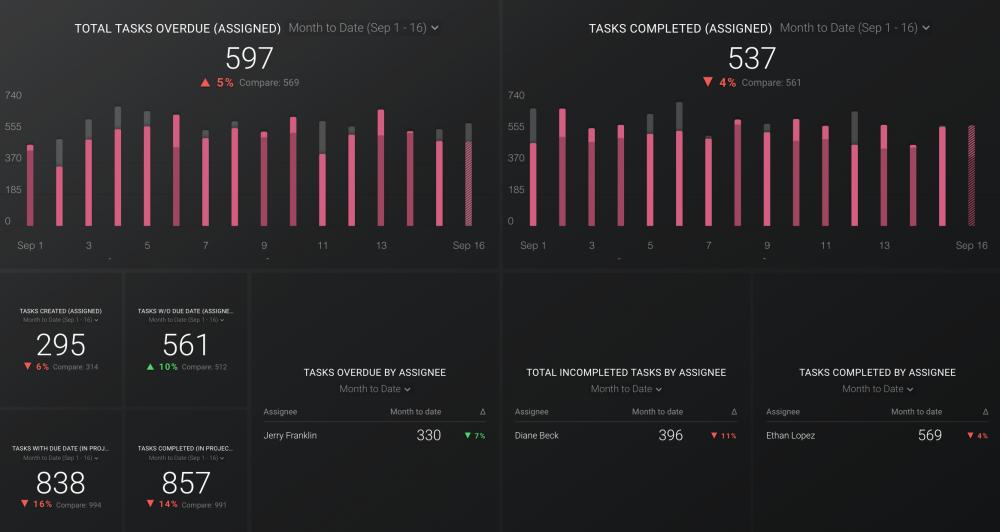 Asana Team Overview dashboard