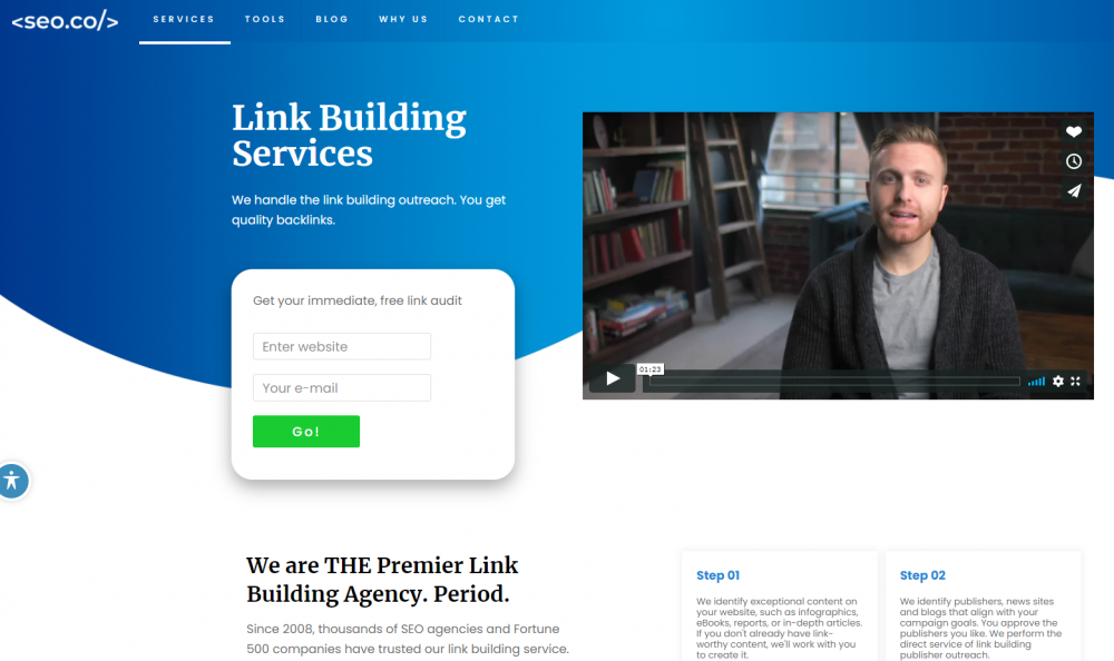 SEO  services landing page example