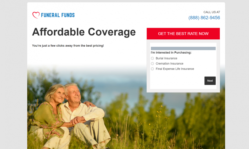 Funeral insurance landing page example