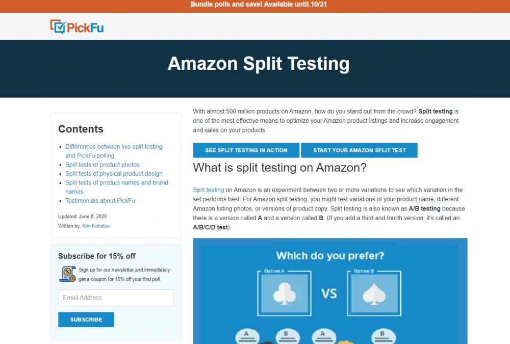 Split Testing SaaS Tool landing page example