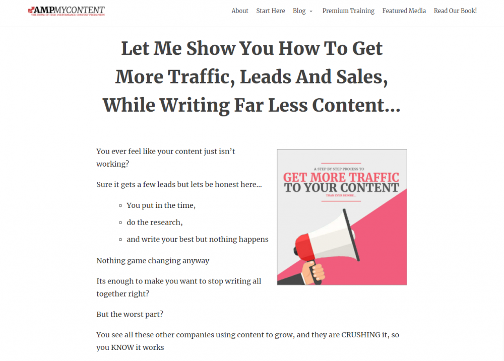 content marketing landing page example