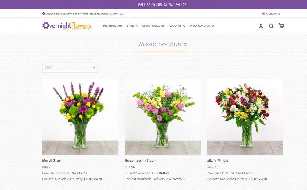 Flower shop landing page example