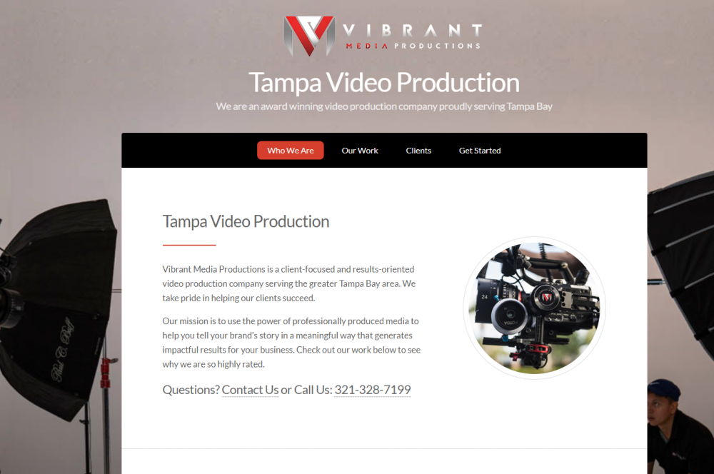 Video production/photography landing page example
