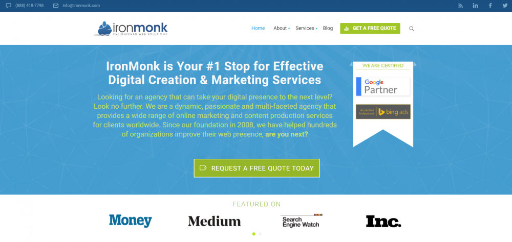Full service digital creative agency landing page example