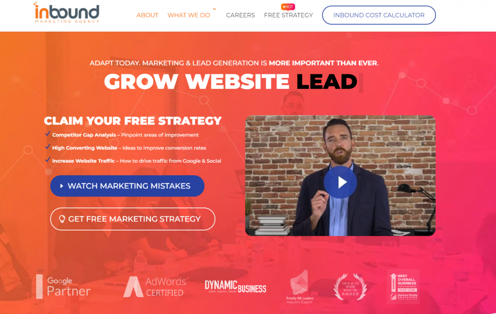 marketing agency landing page example