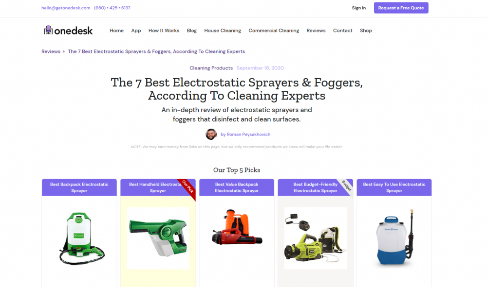 online cleaning services landing page example