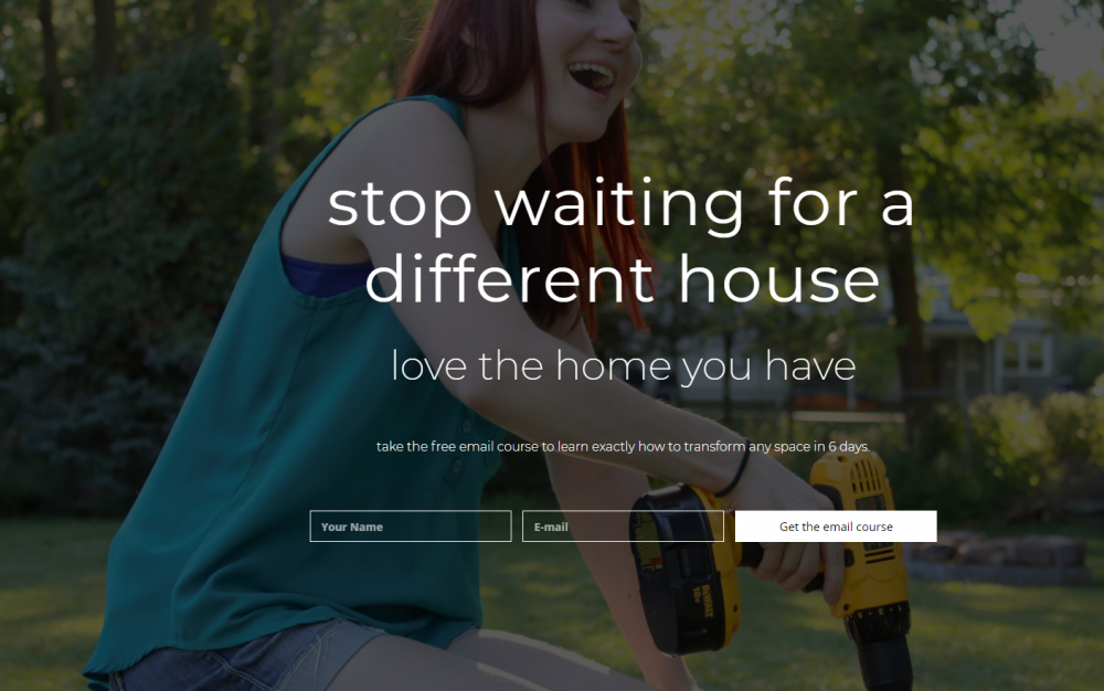 Home renovation landing page