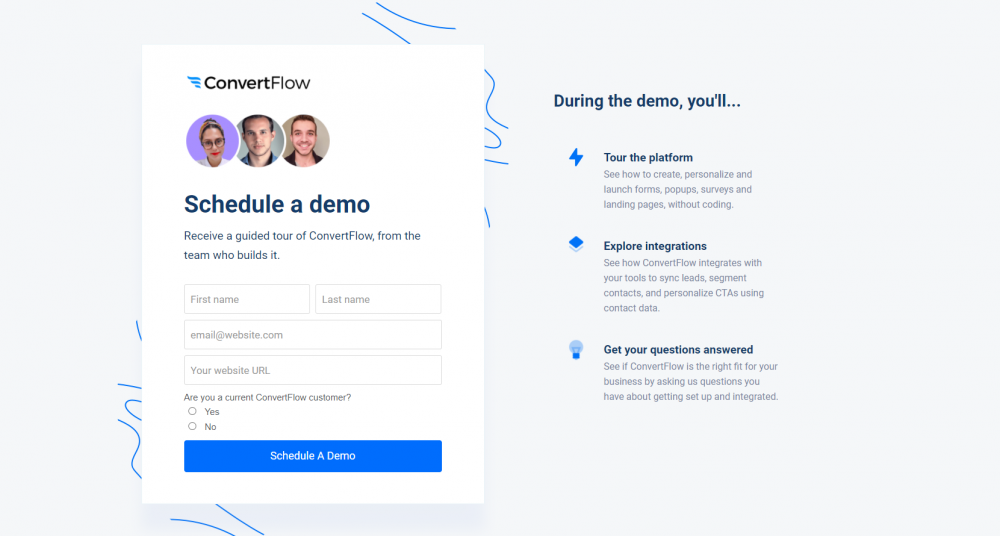 B2B industry landing page example