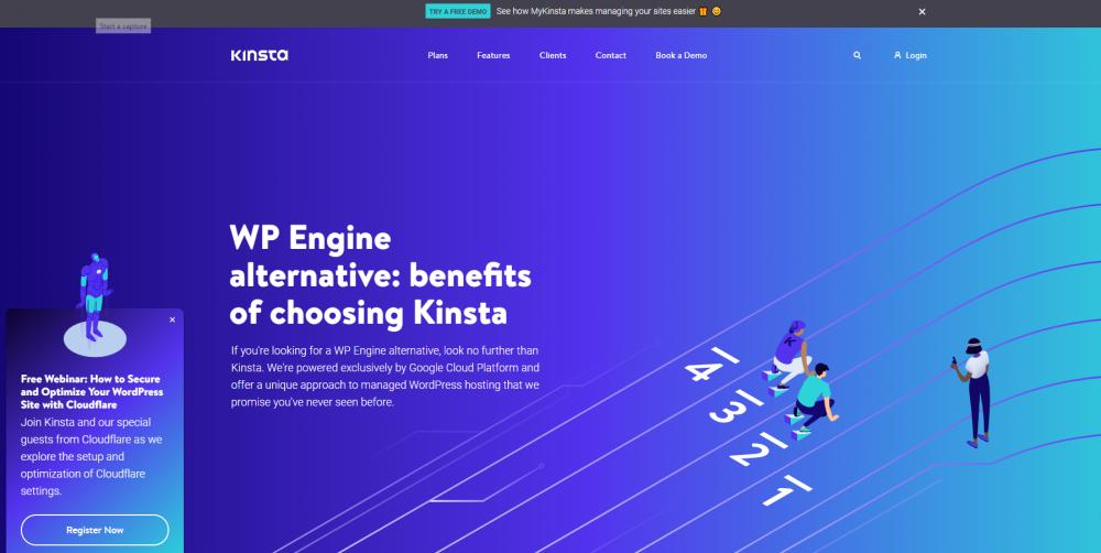 Kinsta landing page