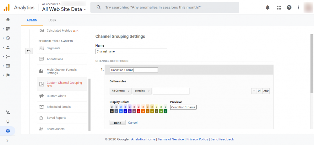 how to use custom channel grouping in Google Analytics?