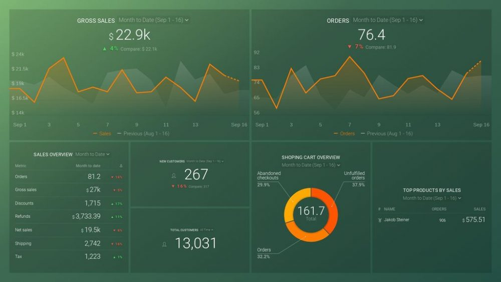 Shopify Store Overview Dashboard Template